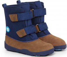 imní boty Affenzahn Minimal Highboot Leather - Bear/Dark Blue/Brown